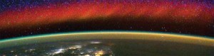 This picture of Earth and the ionosphere, taken with a handheld camera by an astronaut on the International Space Station, shows a bright red wall of plasma near the equator. The glowing red in the image is ionospheric plasma. Though the glowing plasma looks like the aurora, it's much higher in altitude.Credit: NASA. Read more at: http://phys.org/news/2013-04-uc-berkeley-nasa-space-weather.html#jCp